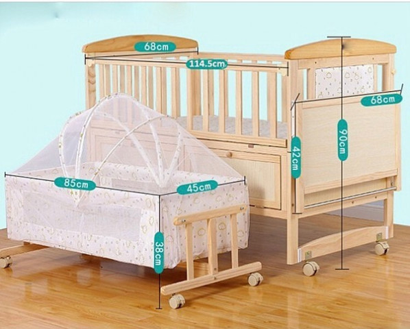 BABY WOODEN COT WITH SWING